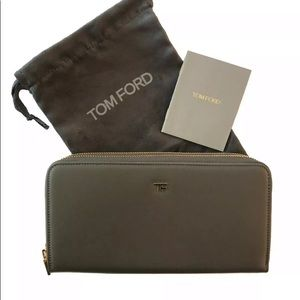 Tom Ford Double Zipper Unisex Mens Leather Wallet
